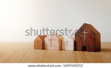 Photo of  Home church online, wooden home church, community of Christ, Mission of gospel, with blank copy space