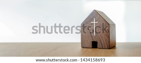 Home church, wooden home church, community of Christ, Mission of gospel, with blank copy space #1434158693