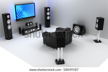 Home-cinema modern (done in 3d)