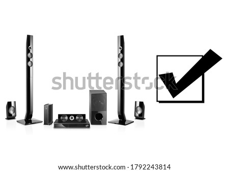 Home Cinema or Home Theatre Entertainment System Isolated on White. Floorstanding Speaker Systems. Acoustic Audio Data Surround Sound Stereo System 5-Channel Output with Subwoofer. 5.1 Ch Loudspeakers