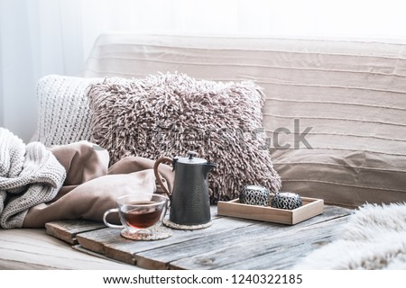 Home comfort, living room with sofa and interior details, homely atmosphere and comfort concept