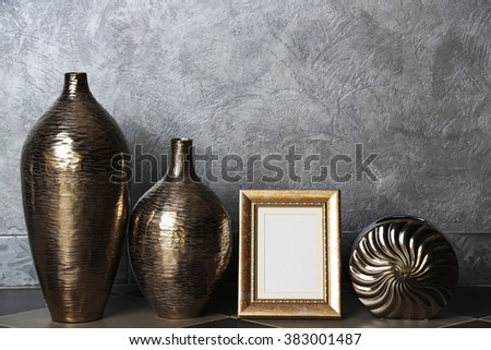 Home decor on grey wall background #383001487