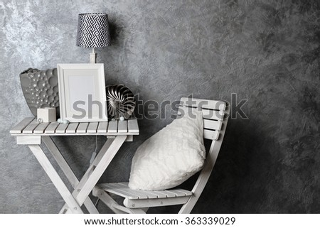 Home decor on table on grey wall background #363339029
