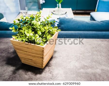 home decoration idea, artificial plants in wooden flowerpot