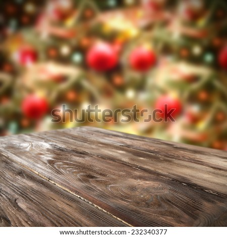 home decoration of holiday time and desk of wood and table space