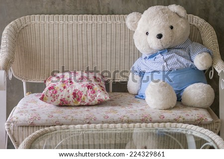 Home decoration with cute  bear on the couch