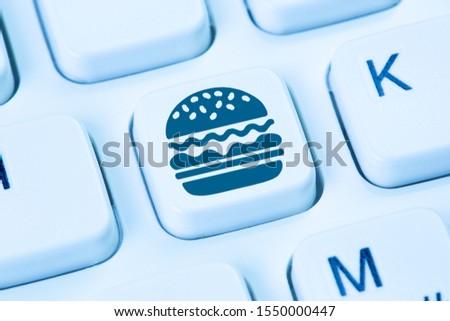 Home delivery computer hamburger fast food ordering online order keyboard deliver