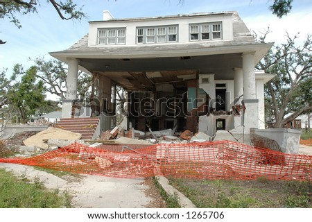 Home destroyed in Biloxi Mississippi by hurricane Katrina