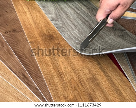 Home DIY decoration concept for changing vinyl flooring by very easy to cutting vinyl sheet