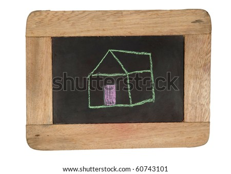 home draw with handwriting on a wooden board.