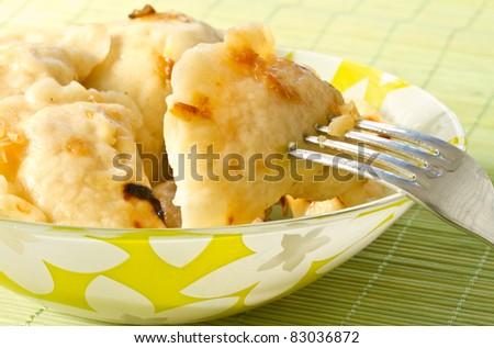 Home dumplings stuffed with a plate