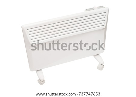 Home electric heater convector isolated on white background. Equipment for rapid heating of the room #737747653