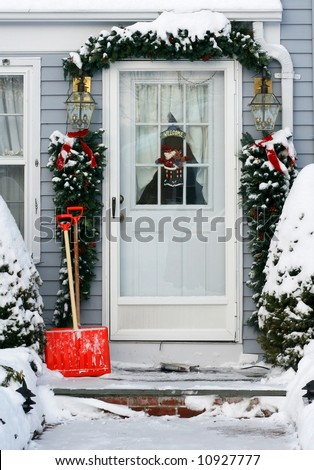 home entrance decorated for holidays
