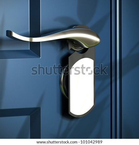 home entrance, handle and grey door hanger, blue door, modern design