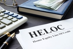 Home equity line of credit HELOC documents.