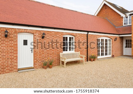Home extension or addition, UK barn conversion to provide a single storey granny annexe, annex Stockfoto ©
