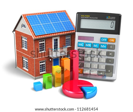 Home finance concept: residential house, office calculator, colorful bar graph and color pie chart isolated on white background