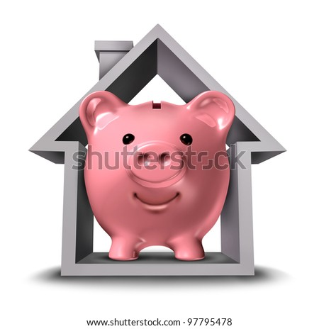 Home finances and real estate finance with a pink ceramic piggy bank in a house structure symbol as a housing industry mortgage plan and residential tax saving strategy or a rental property rent.