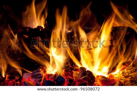 home fire in the fireplace,