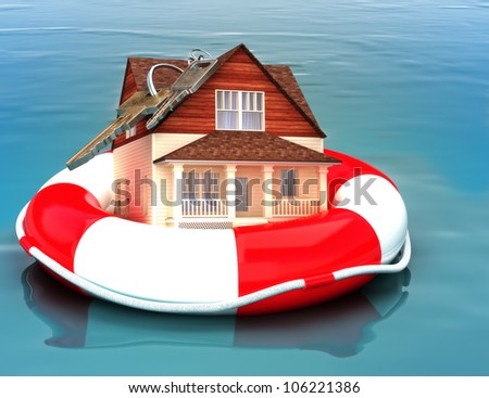 Home floating on a life preserver. Symbolizing a recovering housing economy, flood protection, home salvage , bailout, ect.