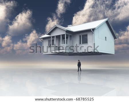 Home floats above mans head