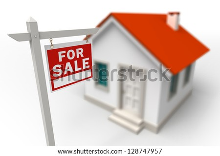Home For Sale Real Estate red sign in front of a 3d model house - stock photo