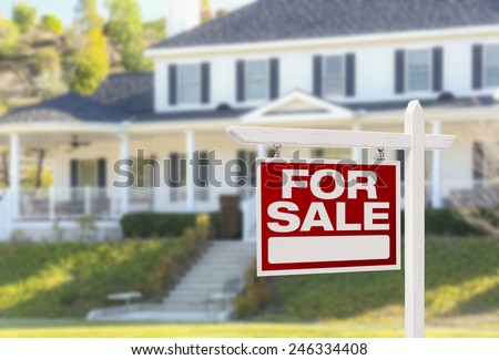Home For Sale Real Estate Sign in Front of Beautiful New House. #246334408