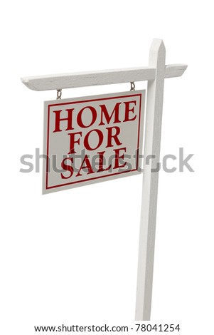 Home For Sale Real Estate Sign Isolated on a White Background with Clipping Path.