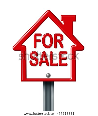Home for sale sign isolated on white representing the concept of real estate sale of a house.