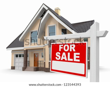 Home for Sale sign on white background. 3d stock photo