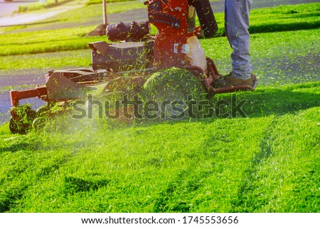 Home garden grass gardener cutting lawn grass with lawn mower man using a lawn mower a gardener cutting grass by lawn mower