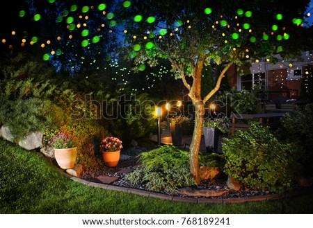 Home garden illumination autumn evening patio festive party lights