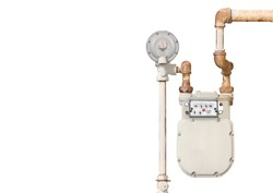 Home gas meter. Domestic natural gas meter and rusty pipes isolated on a white background. Lots of room for text. Horizontal view.
