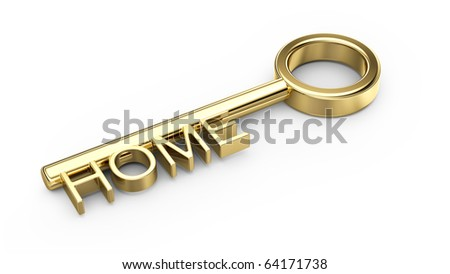 home gold key isolated on white