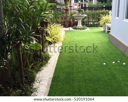 Home golf course, architecture design of grass field around home, artificial grass, fake grass