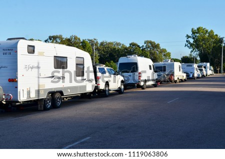 Home Hill, Queensland, Australia, June 23rd 2018, Recreational vehicles parked in street at council rest stop #1119063806