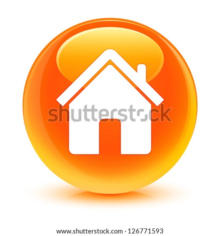 Login Buttons Icons Home Icon Glassy Orange Button