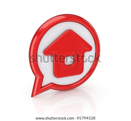 Home Icon.Isolated on white background.3d rendered.