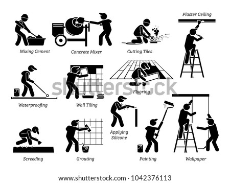 Home Improvement and House Renovation Icons. Pictogram depicts workers and specialists renovating, upgrading, and repairing building.