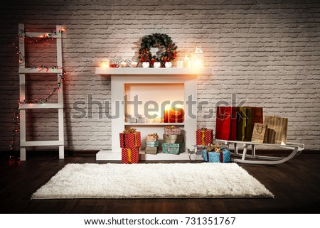 home interior and fireplace  #731351767