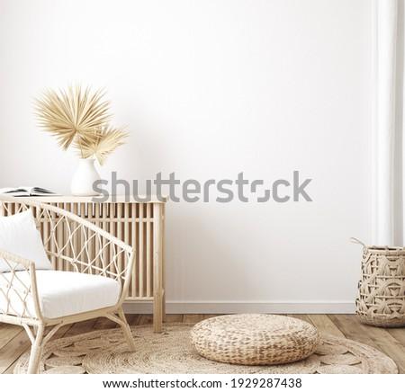 Home interior background, room with minimal decor, 3d render Stok fotoğraf ©