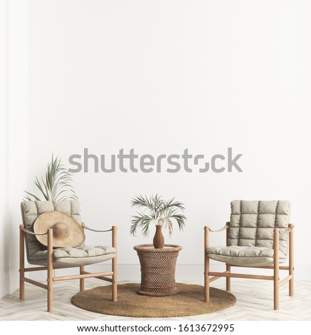 Home interior background with wicker furniture and decor, empty white wall mockup, 3d render
