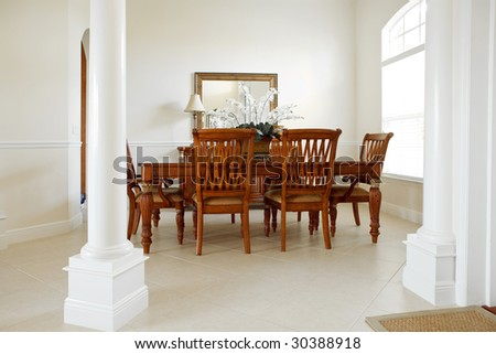 Home Interior, Dining Area With Table and Chairs - stock photo