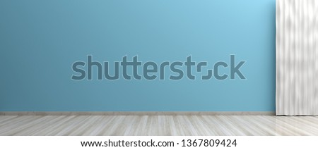 Home interior. Empty room, wooden floor, blue color painted wall and curtain, banner. 3d illustration