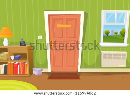 Empty room with window and door - Room Illustration Of A Cartoon Home Interior With Living Room Door