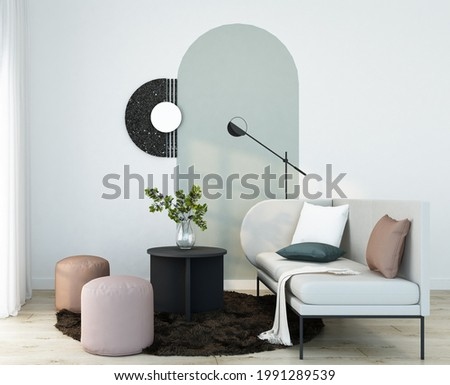 home interior living room with light grey sofa,black coffee table,pink stool,orange stool on dark brown fur carpet,floor lamp,arch wall painting and white frame decorate 3d rendering.