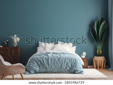 Home interior mock-up background, dark green bedroom with potted palm, 3d render