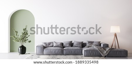 Home interior mock-up with gray sofa, wooden floor lamp and green vase in bright living room, 3d render, 3d illustration