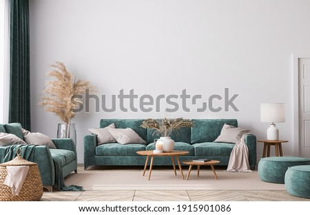 Home interior mock-up with green sofa, wooden table and trendy decoration in white bright living room, 3d render, 3d illustration
