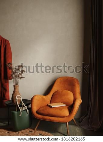 Home interior, modern dark living room with orange armchair, 3d render